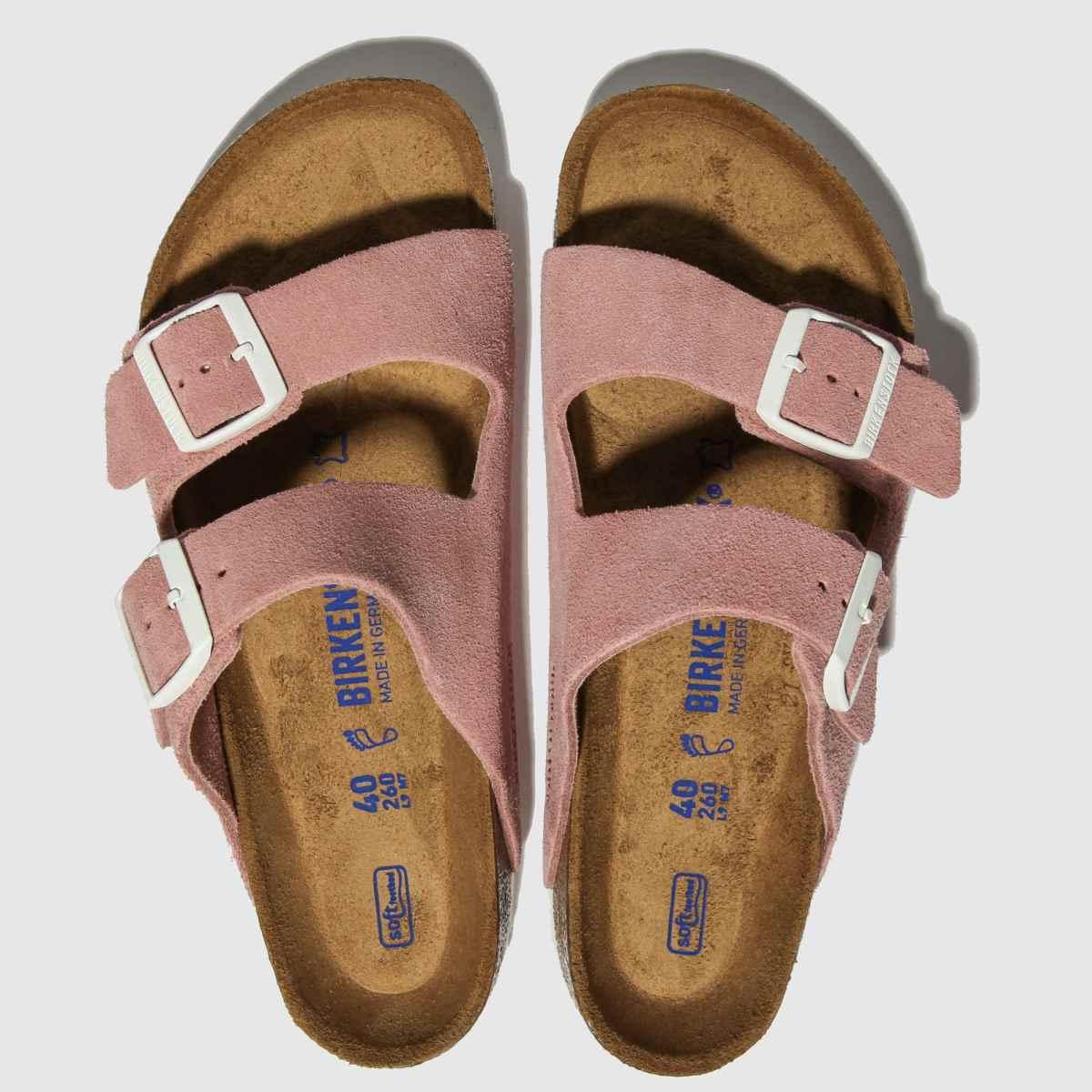 Birkenstock Pink Arizona Sfb Suede Sandals