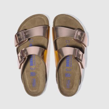 Birkenstock Rose Gold Arizona Soft Footbed Metallic Womens Sandals