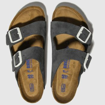Birkenstock Dark Grey Arizona Sfb Suede Womens Sandals