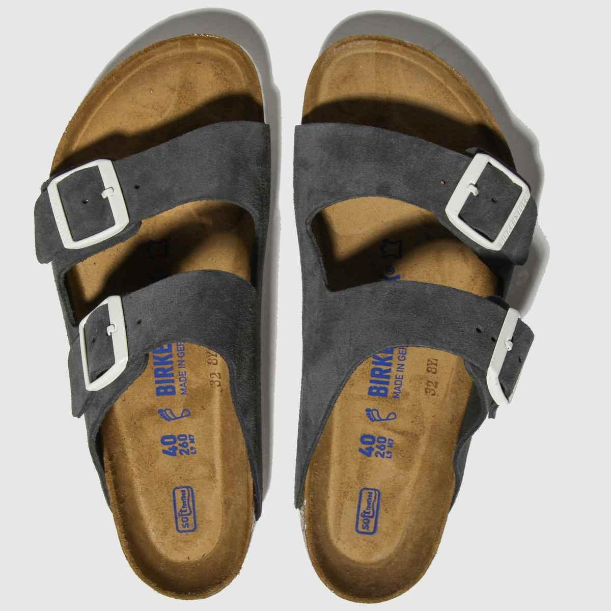 Birkenstock Dark Grey Arizona Sfb Suede Sandals
