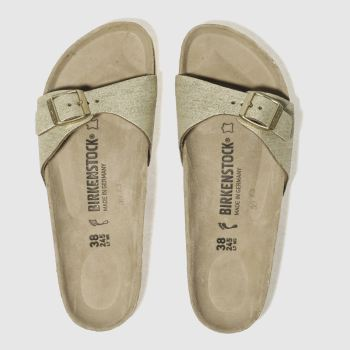 BIRKENSTOCK GOLD MADRID WASHED METALLIC SANDALS