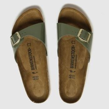 Birkenstock Khaki Madrid Patent Womens Sandals#