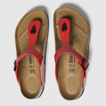 Birkenstock Red Gizeh Patent Womens Sandals
