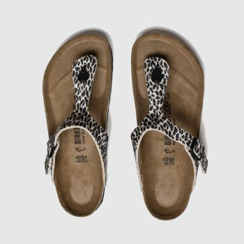 Birkenstock Brown & Black Leopard Print Gizeh Womens Sandals