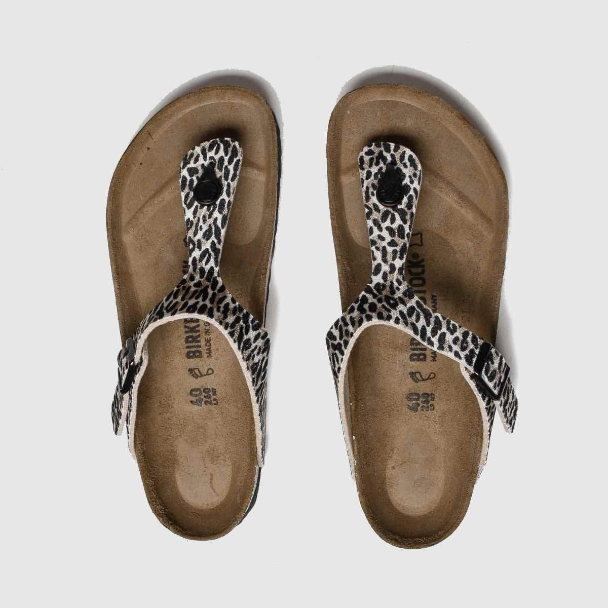 Birkenstock Brown & Black Leopard Print Gizeh Sandals