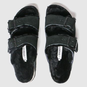 Birkenstock Black Arizona Shearling Womens Sandals