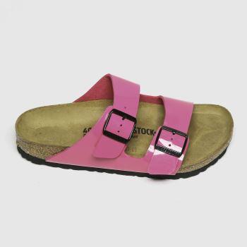 BIRKENSTOCK Pink Arizona Patent Womens Sandals#