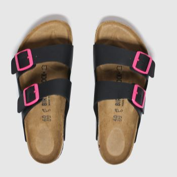 Birkenstock Black & pink Birk Arizona Womens Sandals#