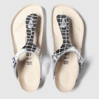 Birkenstock Silver Gizeh Gator Gleam c2namevalue::Womens Sandals