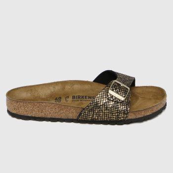 BIRKENSTOCK Black & Gold Madrid Shiny Python Womens Sandals