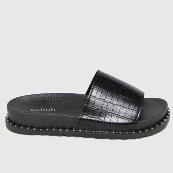 schuh Black Tabitha Croc Stud Slide Womens Sandals