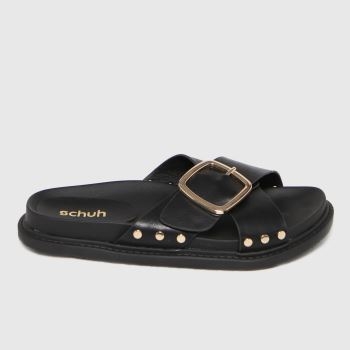 schuh Black Tiffany Buckle Stud Footbed Womens Sandals
