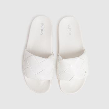 schuh White Tibby Weave Slide Womens Sandals