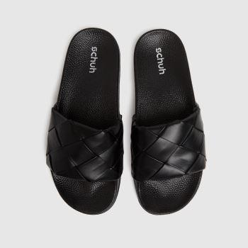 schuh Black Tibby Weave Slide Womens Sandals