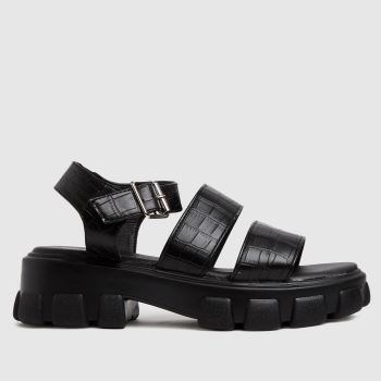 schuh Black Tamia Croc Chunky Cleated Womens Sandals