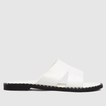 schuh White Topaz Croc Studded Mule Womens Sandals