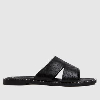schuh Black Topaz Croc Studded Mule Womens Sandals