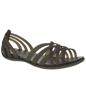Womens Black Crocs Huarache Flat Sandals Schuh