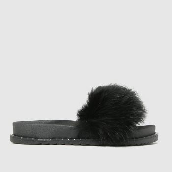 schuh Black Teegan Fluff Slide Womens Sandals