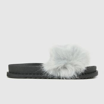 schuh Grey Teegan Fluff Slide Womens Sandals