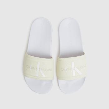 CALVIN KLEIN White & Beige Chantal Heavy Canvas Slide Womens Sandals