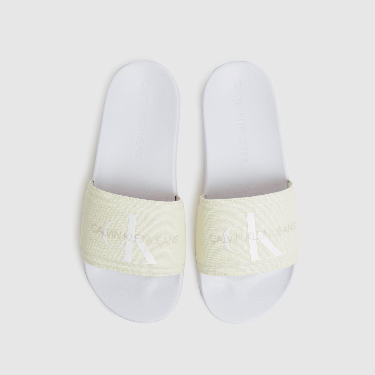 CALVIN KLEIN White & Beige Chantal Heavy Canvas Slide Sandals