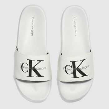 Calvin Klein White & Black Jeans Chantal Heavy Canvas Womens Sandals