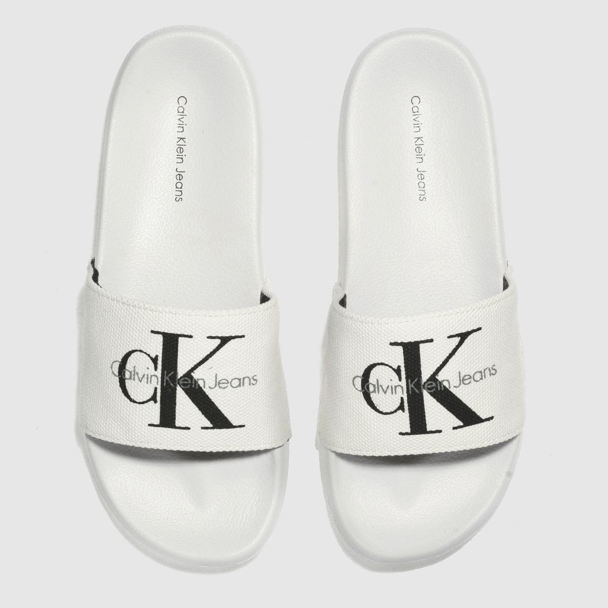 67c08e8a52e2b4 Calvin Klein White   Black Jeans Chantal Heavy Canvas Sandals ...