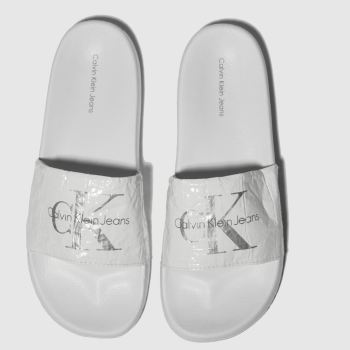 Calvin Klein White & Silver Chantal Metallic Crinkle Womens Sandals