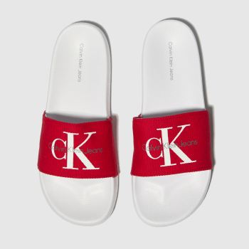 calvin klein red chantal heavy canvas sandals