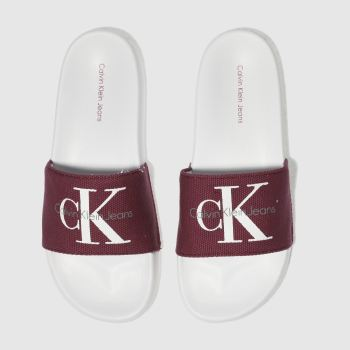 Calvin Klein White & Burgundy Chantal Heavy Canvas Sandals