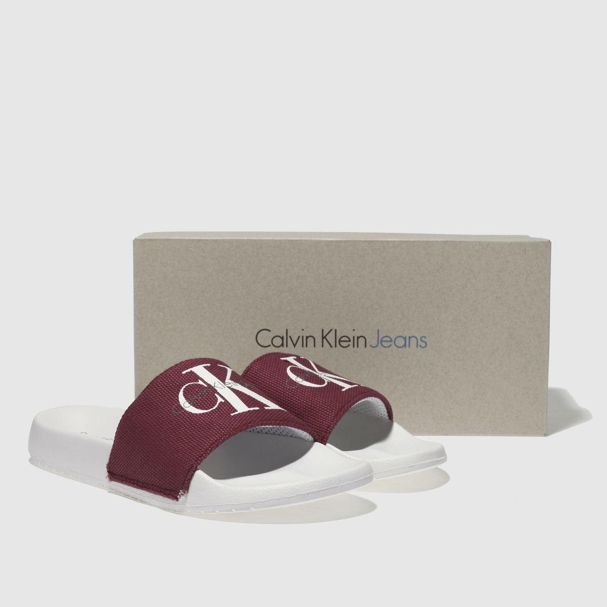 Damen Weiß-weinrot calvin klein | Chantal Heavy Canvas Sandalen | klein schuh Gute Qualität beliebte Schuhe b23faf