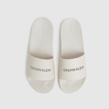 CALVIN KLEIN White Institutional Slide Womens Sandals