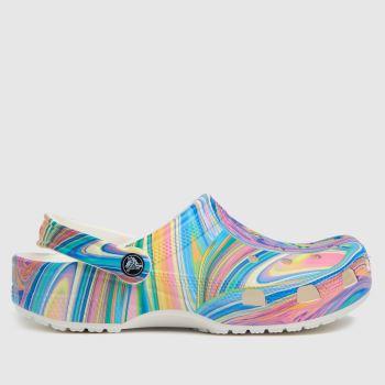 crocs White & Pink Classic Clog Womens Sandals