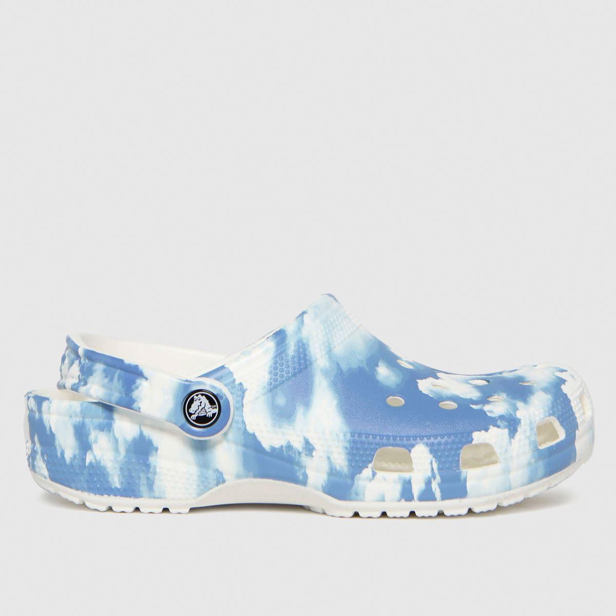 Crocs White & Blue Classic Clog Sandals