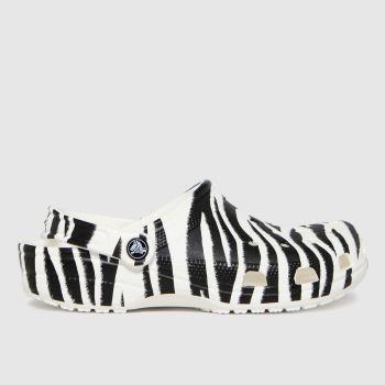 crocs Black & White Classic Clog Animal Womens Sandals