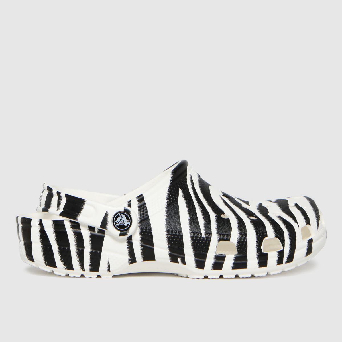 Crocs Black & White Classic Clog Animal Sandals