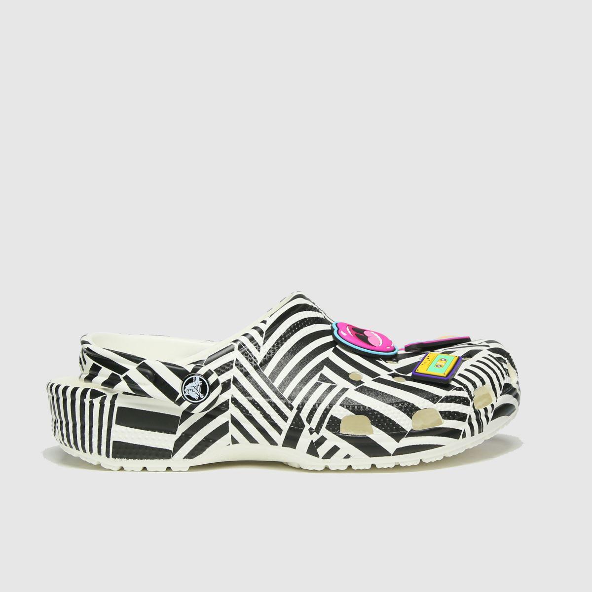 Crocs White & Black 90s Rock Classic Clog Sandals