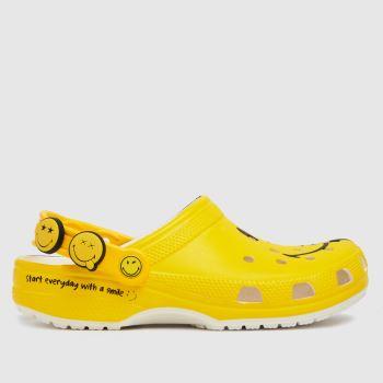crocs Yellow Classic Smiley Womens Sandals