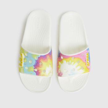 crocs White & Yellow Classic Slide Womens Sandals