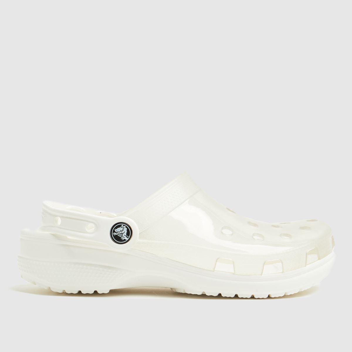 Crocs White Classic Translucent Clog Sandals