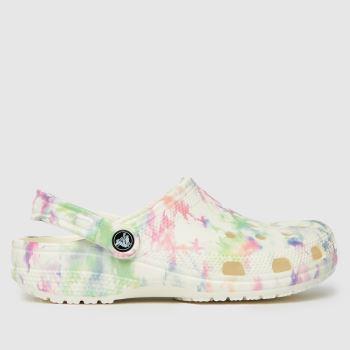 crocs White & Pink Bleach Dye Clog Womens Sandals