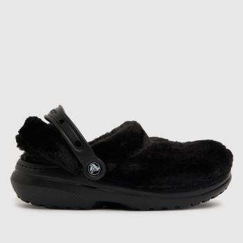 crocs Black Classic Lined Cozy Fuzz Womens Sandals