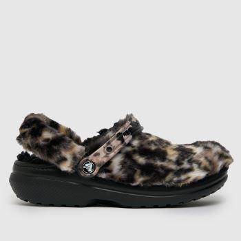 crocs Black & Brown Classic Lined Cozy Fuzz Womens Sandals