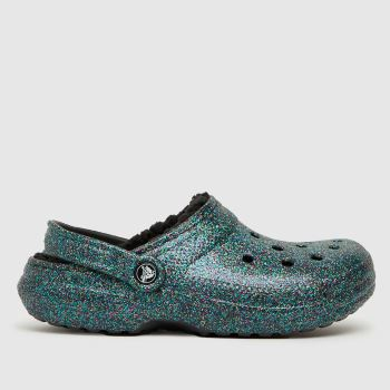 crocs Navy Classic Lined Glitter Womens Sandals