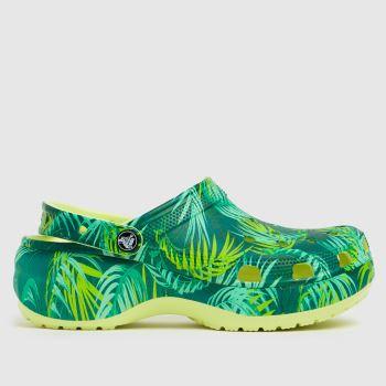 crocs Green Classic Tropical Womens Sandals