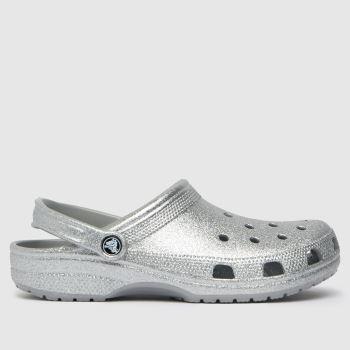 crocs Silver Classic Glitter Clog Womens Sandals