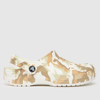crocs White & Beige Classic Camo Clog Womens Sandals