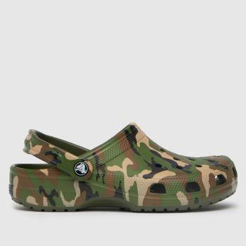 crocs Dark Green Classic Camo Clog Womens Sandals