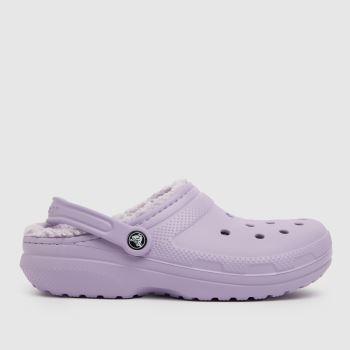 crocs Lilac Classic Fuzz Lined Clog Womens Sandals
